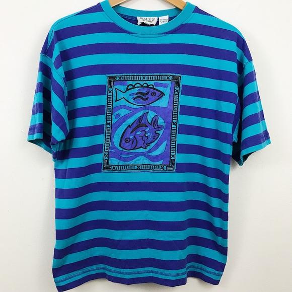 e87a4e247cb5 Vintage Shirts | Striped Fish Art Graphic Tee | Poshmark
